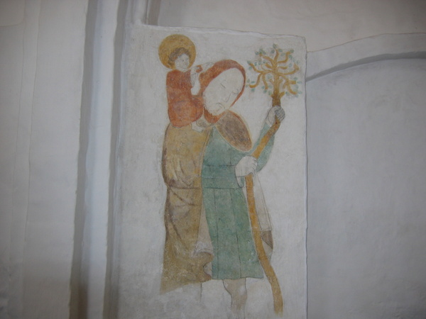 1-murbilledet, Skt. Kristoffer, Tranebjerg kirke, sted i landskabet
